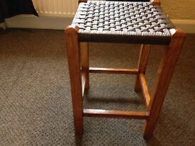 Vintage Wicker Topped Stool