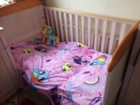 Cot/cotbed,matching changing unit with cupboard 2 draws ..smoke/pet free home