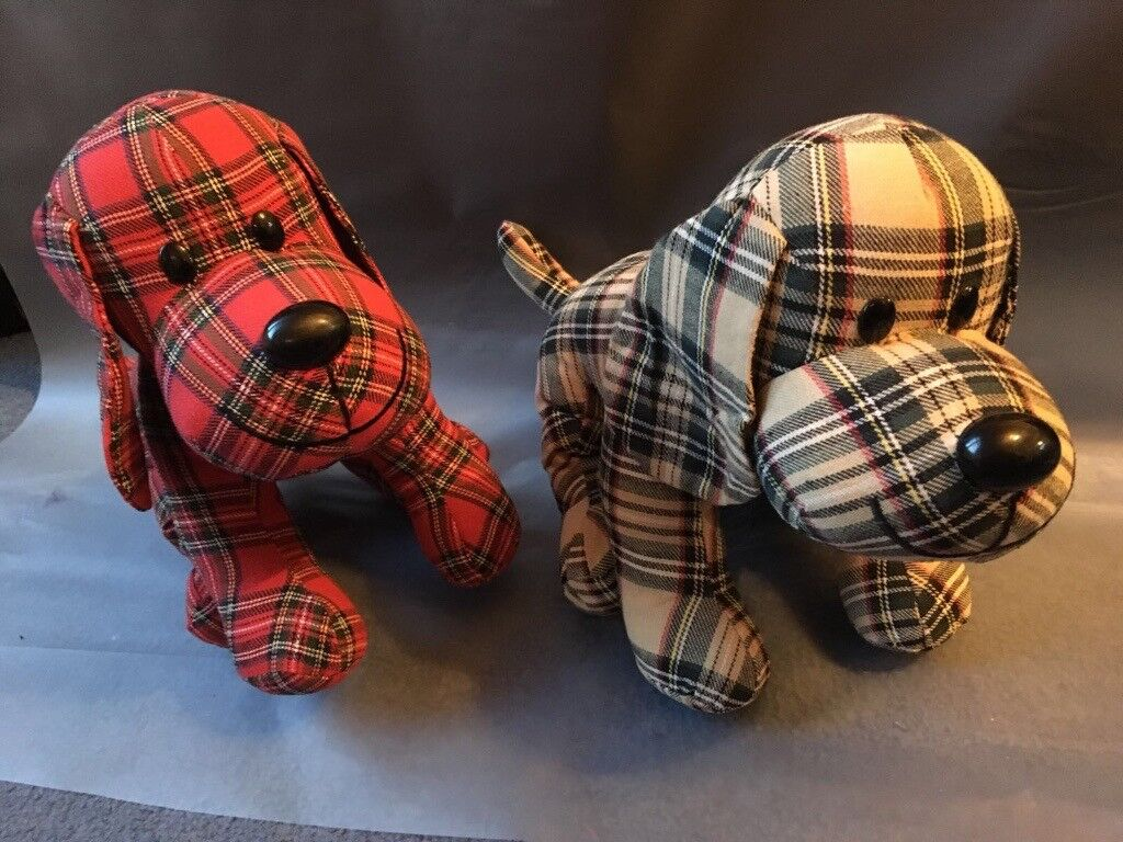 2 checked dog teddies - Brand new