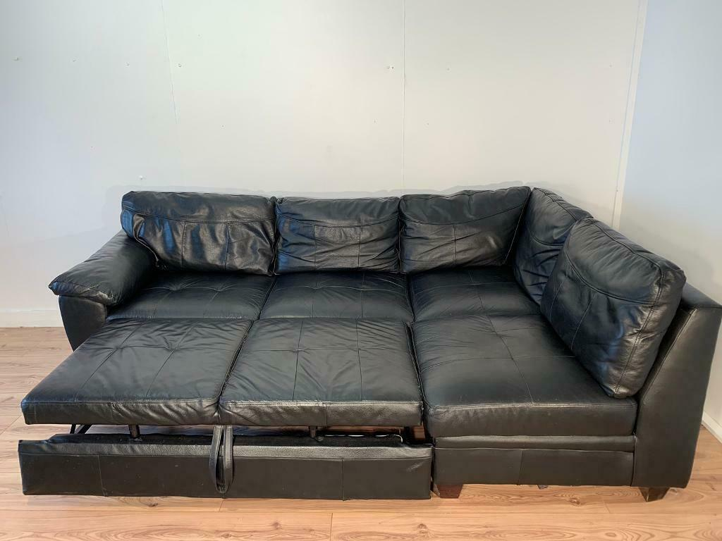 Terrific Black Real Leather Corner Sofa Bed With Free Delivery Within London In Clapham London Gumtree Cjindustries Chair Design For Home Cjindustriesco