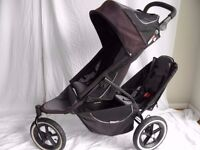 Phil & Teds Sport Double Pushchair Black & Grey with 2nd seat unit & Adapters