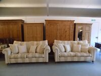 2 x Duresta Lowndes Tangmere Striped Fabric Sofas