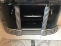 Italian black and silver tv unit