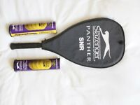 Slazenger Supercat Tennis Racket - brand new + case/cover and 8 new tennis balls in sealed tins.