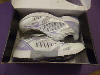 Size 7 - boxed, unworn - white trainers with purple