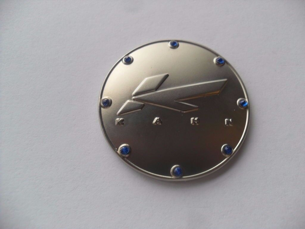 Badge Emblem Stick on Gear Selector Kahn Logo with Blue Studs 41mm Diameter