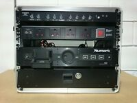 ABS 7U flight case rack with Audio Zone Mixer, Numark iDEC, lockable draw and extensions