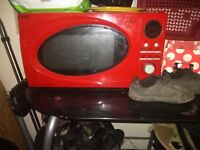 Red kitchen microwave