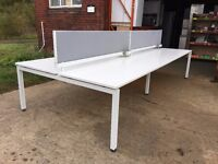 HERMAN MILLAR 8 PERSON WORK STATION AND SCREENS WHITE / GREY