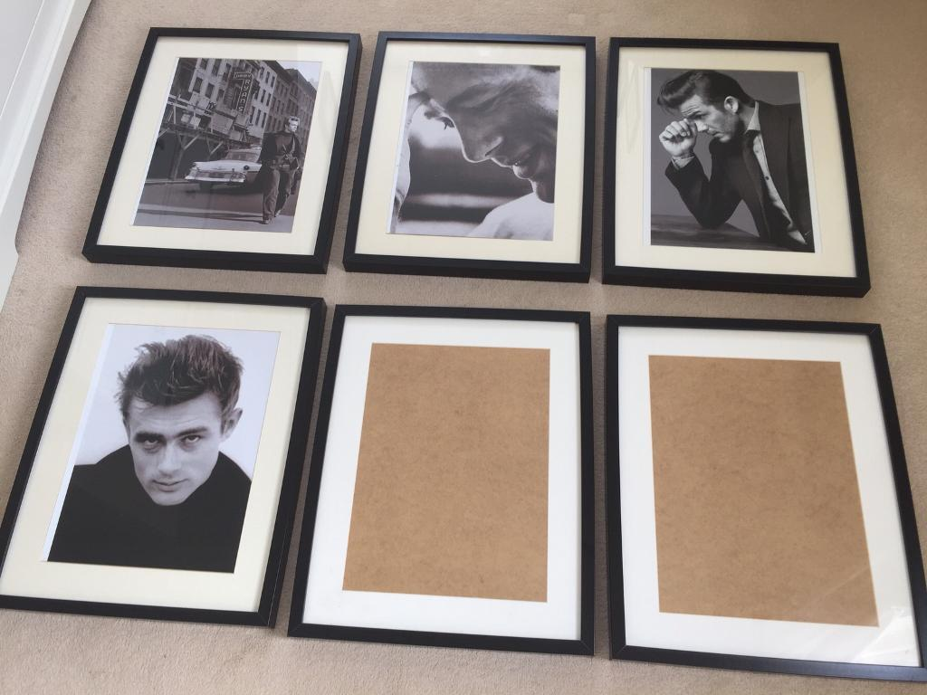 6 large black frames 3 with james dean black white prints 1 with