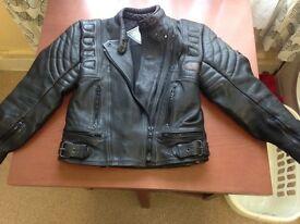 Ladies black leather bikers jacket