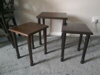 Three small coffee tables ideal they sit by chair.mahogany type wood good condition