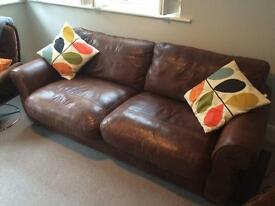 John Lewis Leather 3 seater Sofa