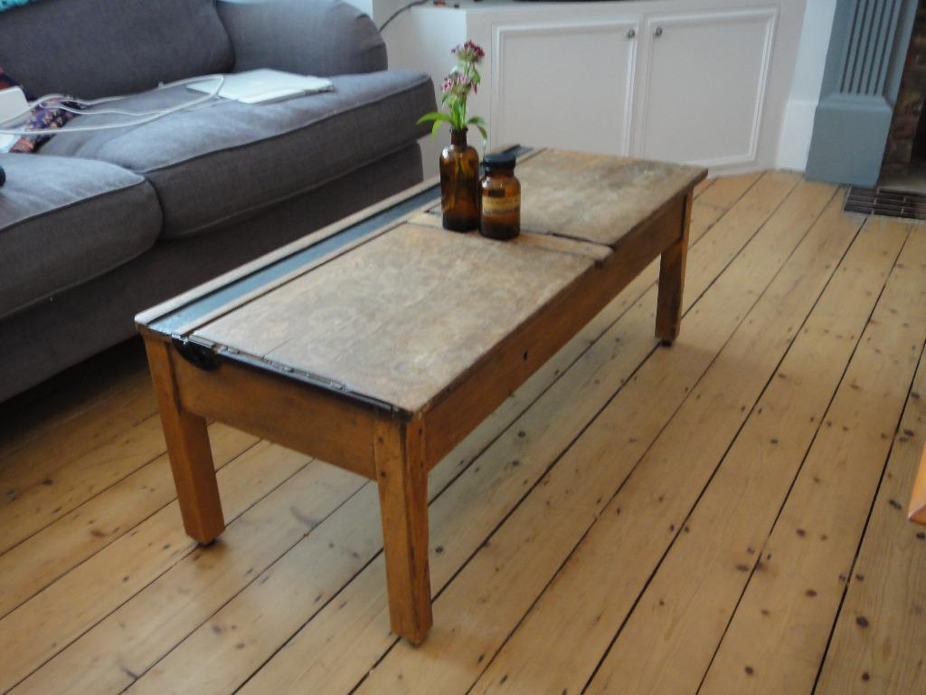 Vintage antique old reclaimed wooden double school desk for Coffee tables gumtree london