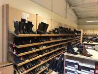 Retail Shoe Bays with 7 Shelves and Shoe Gondolas