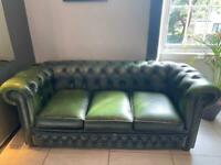 Chesterfield green leather sofa
