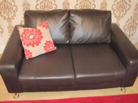 brown double sofa