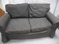 IKEA 2 SEATER SOFA WITH BLACK REMOVABLE WASHABLE COVERS - BARGAIN £20