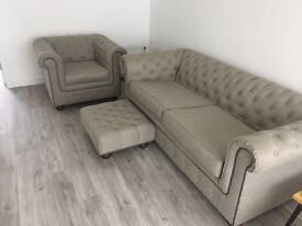 Chesterfield sofa, tub chair and footstool