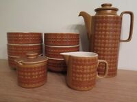 Retro (1970's) Hornsea Saffron coffee pot, milk jug, sugar dish, soup/cereal/dessert bowls