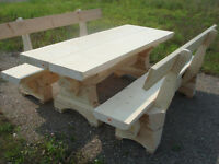 Picnic series wooden table set consist of three seperate parts SOLID WOOD