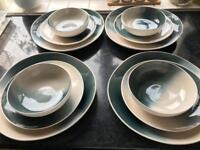 Gorgeous west elm ombré crackle glaze dinner set, 4 plates, bowls and side plates - this season