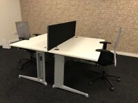 4 office desk available,excellent condition 140cm x 80cm comes with a divider (optional) metal legs
