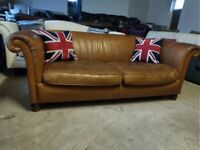 John Lewis Derwent Tan Leather Sofa settee Deliv Poss