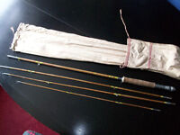 Vintage Adjustable Hexagonal Cane Fly Fishing Rod with Original Canvas Bag