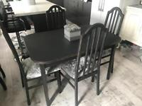 Grey shabby chic extendable dining table with 4 crushed velvet chairs. Painted in Farrow & Ball