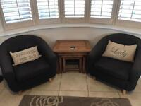 Two matching Grey tub chairs