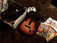 Xbox 360 Slim 250gb with all cables, 2 controllers, Wireless Guitar & 4 games