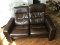 Stressless leather 2 seater reclining sofa