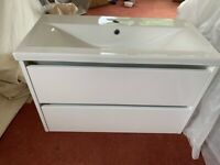 New White Gloss City 800mm Vanity Unit & Sink £369.95 From Wholesale Domestic