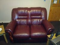 LEATHER 2 SEATER SOFA AND ARMCHAIR BARGAIN