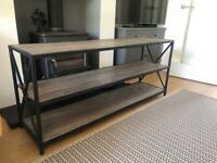 Industrial style bookcase/media/tv unit - grey