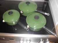 set od cast iron Le Creuset Pans