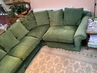 Corner sofa in Green Velvet