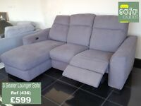 Designer Grey fabric 3 seater Lounger (436) £599