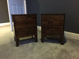 Two lovely bedside tables (dark wood)
