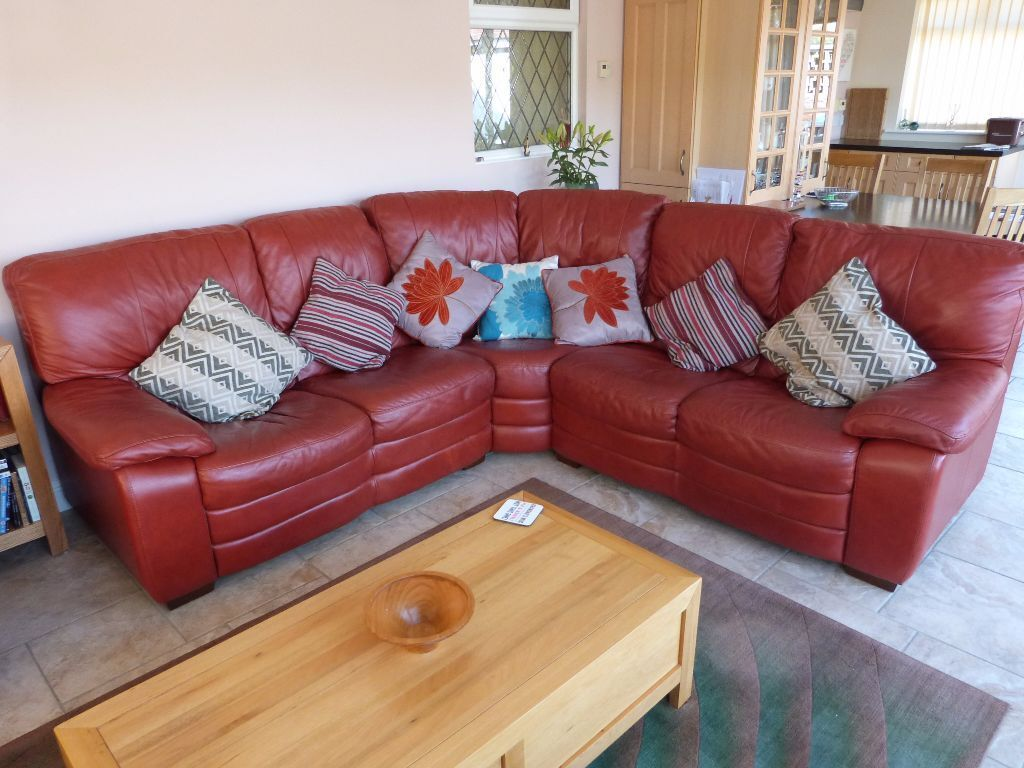 Maroon Living Room Furniture Real Leather Maroon Sofa Corner Unit And Matching Fully