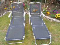 2 x Fully adjustable sun loungers. collapsable.