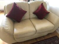 Leather sofa - cream - 2 Seater