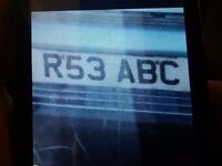 Number plate R53 ABC