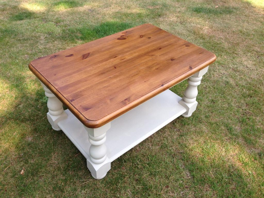 Hand Painted Solid chunky pine rectangular coffee table with shelf