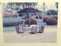Garden patio dining table, six chairs and parasol