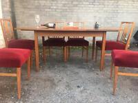 EXTENDABLE TABLE VINTAGE RETRO DANISH & 6 CHAIRS FREE DELIVERY