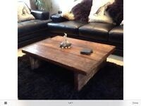 Handmade rustic coffee table solid timber