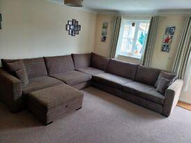 Corner sofa and storage footstool