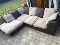 Brown and beige large corner sofa in good condition